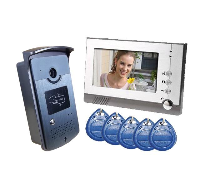 Yobang Security 7 Video Intercom Door Phone System With1 Monitor 5 RFID Card Reader HD Doorbell Camera door bell Video Intercom
