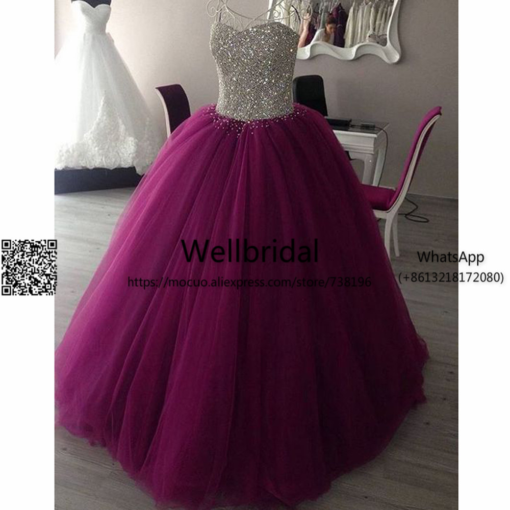 New 2019 Ball Prom Dresses With Crystals Beaded Robe De Soiree Vestido De Festa Longo Tulle Off Shoulder Long Evening Dresses