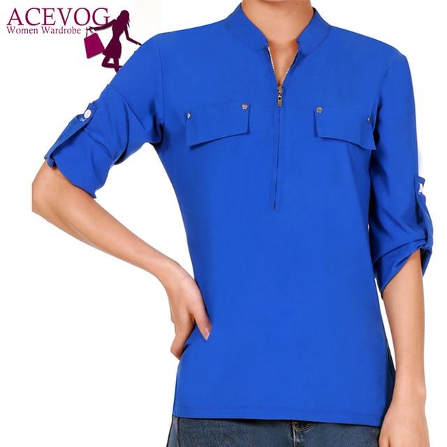 ACEVOG Fashion Women Elegant Stand Neck 3/4 Sleeve Shirt Casual Fake Pocket Zipper Career Shirt Tops Blouse Spring/ Summer