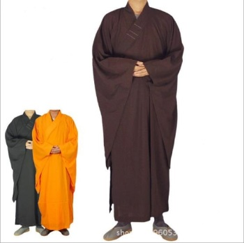 Free Shipping Shaolin Buddhist Monk Robes Suits Chinese Kung Fu Gown Uniforms Unisex Buddhist Clothing