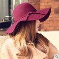Nueva Inglaterra Retro de Lana Sombrero Sombrero Del Verano de Las Mujeres 2016 Sombrero de Playa Femenino Señora Del Sombrero Del Sol Al Aire Libre Protección UV