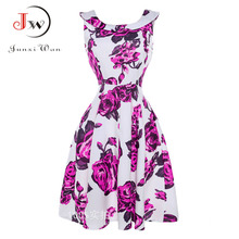 Robe femme ete 2017 d'été dress femmes floral audrey hepburn vintage 50 s 60 s robes swing rockabilly rétro pin-up bureau dress