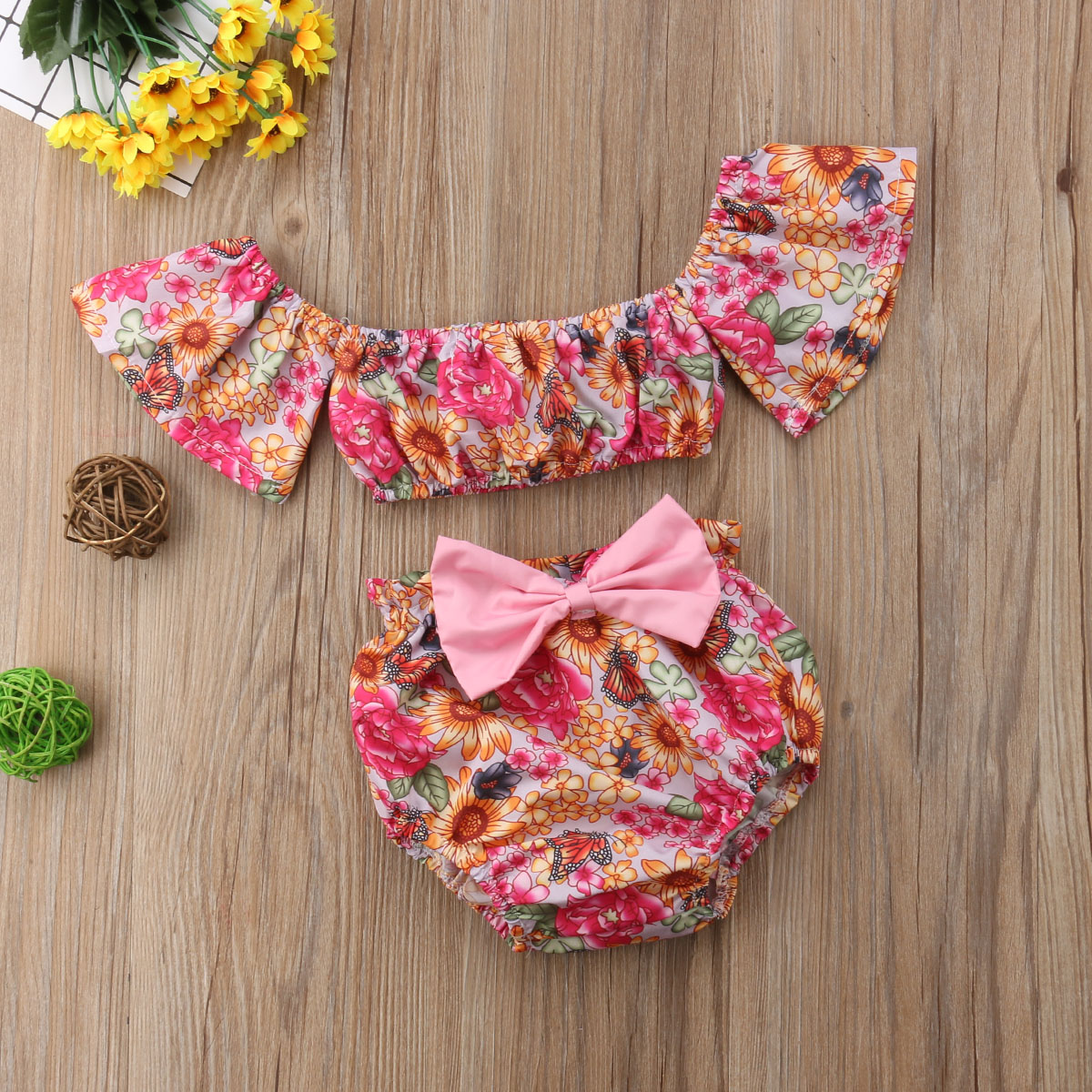Pudcoco Newborn Infant Baby Girl Clothing Set Floral off shoulder Tops T-shirt+Bowknot shorts Outfit Flower Girls Clothes 0-24M