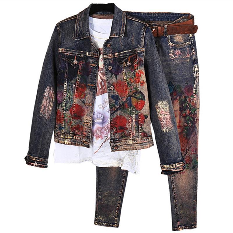 Flowers Print Denim Jeans Jacket Pants Suit Lady Two Pcs Elastic Material Painting Fashion Trends Women