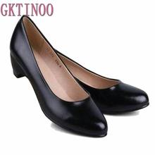 GKTINOO Womens Leather Med Heels New High Quality Shoes Classic Black Pumps Shoes for Office Ladies Shoes