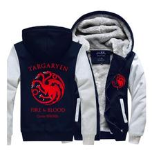New Fashion Game of Thrones Hoodie Coat A Song of Ice Fire House Targaryen Jacket Winter Men Thick Zipper Sweatshirts