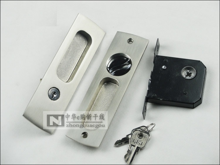 Bed Bath Sliding Pocket Door Lock Mortise Lock Set in Privacy Hook Bolt (Door Thickness: 38-48mm)
