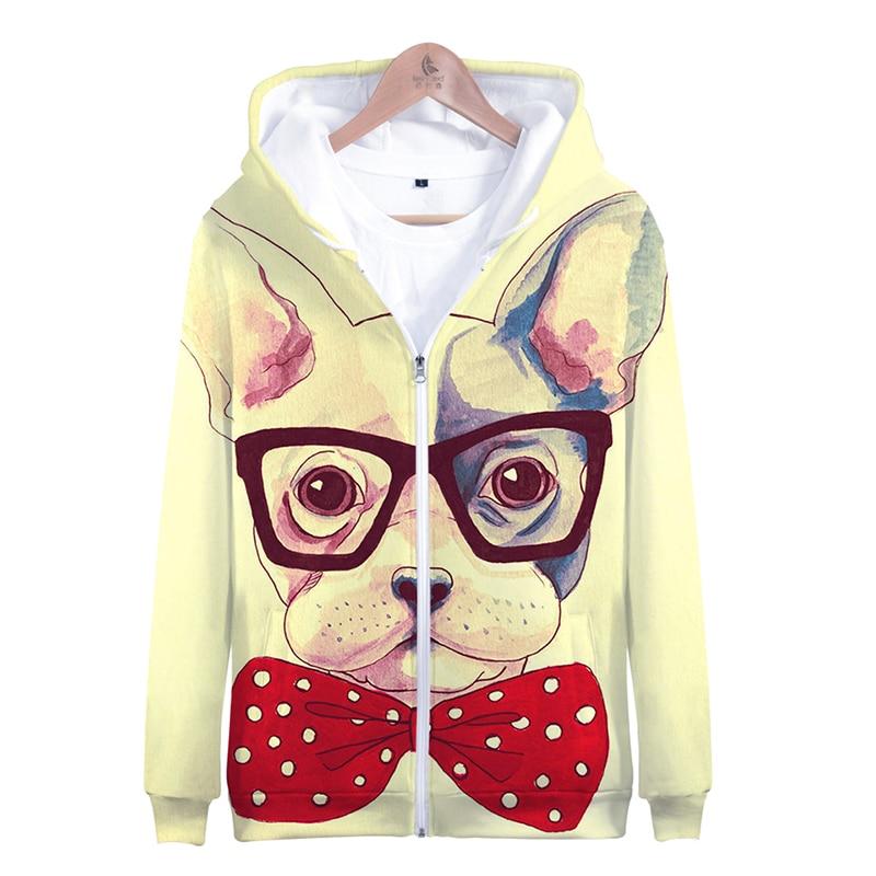 3d Cute Cartoon French Bulldog Fashion Men Women Zipper Hoodies Jacket Casual Long Sleeve Zip Up 3d Hooded Sweatshirt Tracksuits