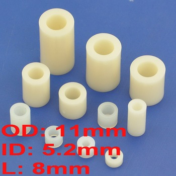 ( 1000 pcs/lot ) 8mm Plastic / ABS Round Spacer, OD 11mm, ID 5.2mm, for M5 Screw.