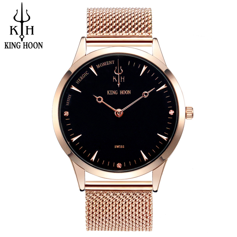 Top Brand Mens Watches Luxury Quartz Casual Watch Men Stainless Steel Mesh Strap Ultra Thin Dial
