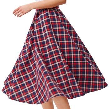 ac3f94655d Plaid falda alta cintura patrón de rejilla una línea vintage 50 s 60 s  plisado skater estilo escocés patinador MIDI tartán faldas Primavera Verano