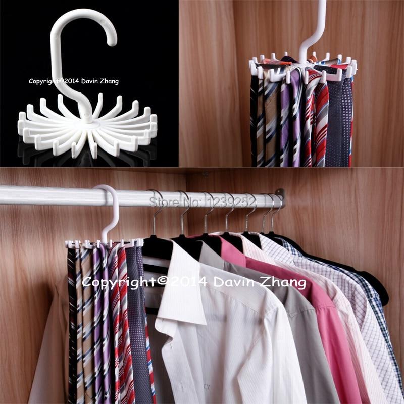 New Men Mini Rotating Adjustable Tie Rack Tie Hanger Hold 20 Neck Ties Organizer