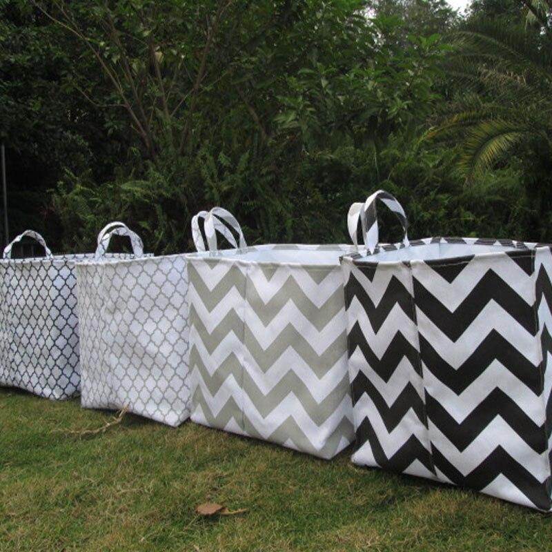 Wholesale Blanks Canvas Burlap Jute Storage Buckets Square Laundry Tote Chevron Quatrefoil Printing DOM103082