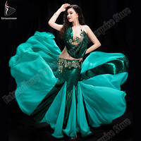 New Fashion Women Belly Dance Oriental Performance Stage Competition Dress Bra Beads Skirt Long Style Wear Eastern Costume
