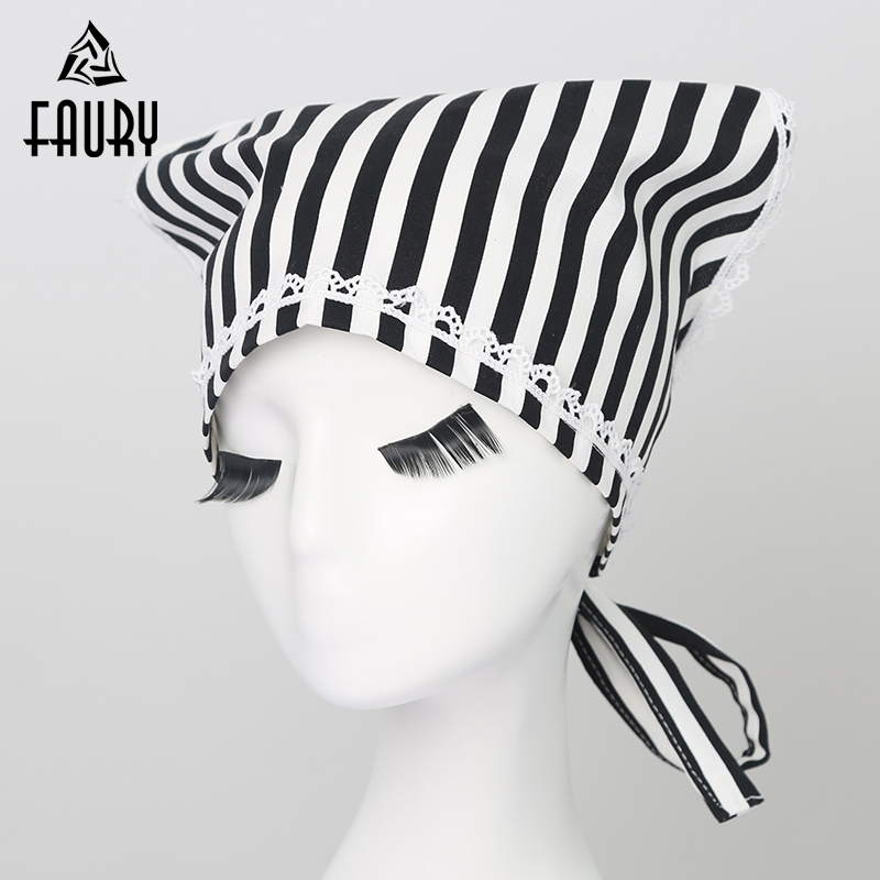 Women Striped Lace Kitchen Triangle Headscarf Catering Restaurant Cafe Cook Chef Hat Baker Patissier Waitress Housekeeper Caps