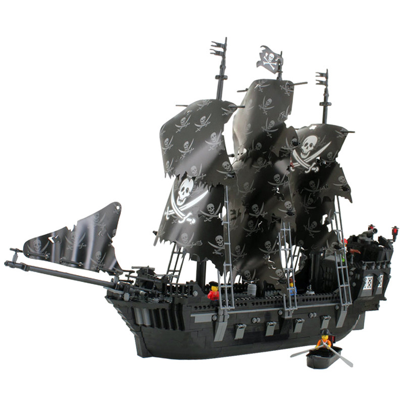 Black Pearl Ship Compatible Legoing Pirates Ship Caribbean Pirate Model Building Blocks Boy Birthday Gift Kids Toys For Children