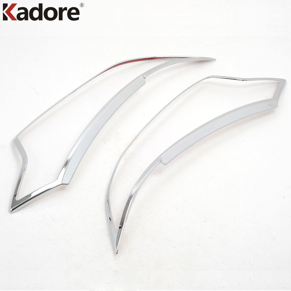 For Mitsubishi Outlander 2016 2017 ABS Chrome Plastic Front Light Lamp Cover Trim Headlight Decoration Covers 2pcs Car Styling montford car styling abs matte internal gear panel cover trim for mitsubishi outlander 2016 2017 only for left handed driving