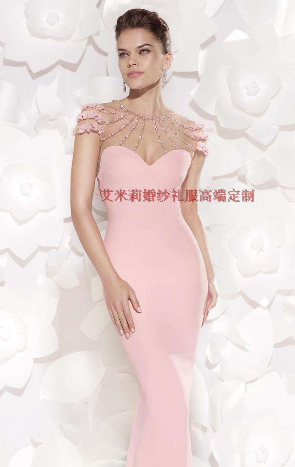 Livraison gratuite nouvelle mode fleur robe de festa formatura 2014 sexy dos nu femmes robe d'été sirène rose longues robes de bal - 4