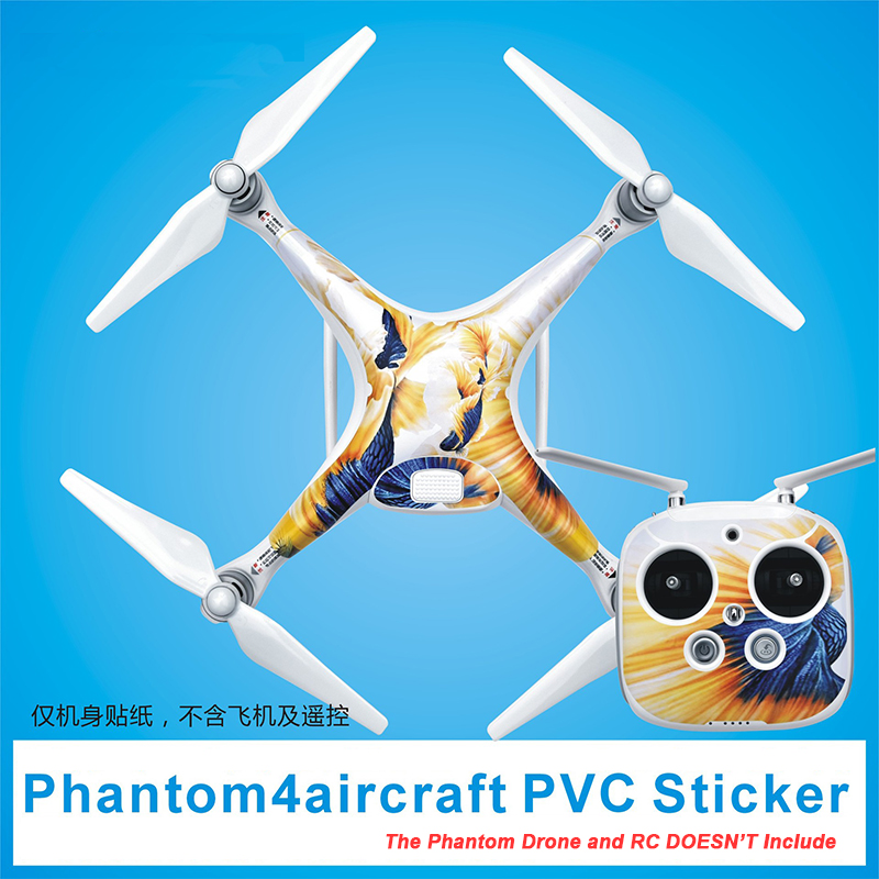 Newest DJI Phantom 4 Accessories PVC Skin Decal Sticker For Phantom 4 Copter Shell and Remote Controller