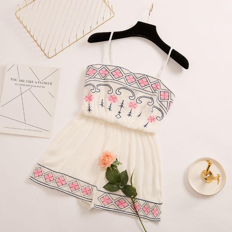 New Women Playsuits 2018 Summer Vintage Embroidery  Spaghetti Shorts Jumpsuit Ladies Sexy Romper Casual Jumpsuit