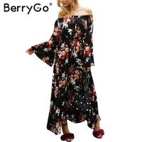 BerryGo Off Shoulder Floral Print Autumn Dress Women Flare Sleeve Tie Up Maxi Long Dress 2017