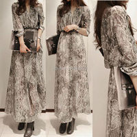 2PC Fashion Women Retro Vintage Long Sleeve Chiffon Boho Snakeskin Empire Waist Party Eveing Long Dress