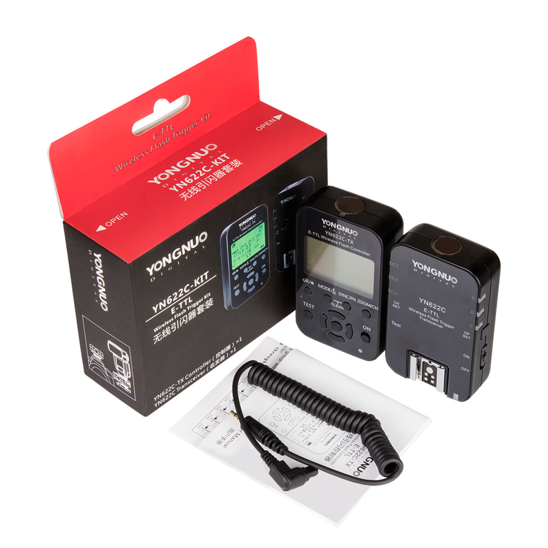 Yongnuo Wireless E-TTL Flash Trigger Kit YN622C-KIT Transmitter Controller YN622C-TX + YN622C Transceiver for Canon YN600EX-RTII yongnuo yn e3 rt ttl radio trigger speedlite transmitter as st e3 rt compatible with yongnuo yn600ex rt