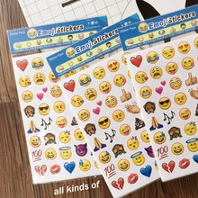 1PCS sheet(48stickers ) Cute Lovely 480 Die Cut Emoji Smile Sticker For Notebook Message High Vinyl Funny Creative 27 sheets 1300 style cut emoji sticker smile for notebook message high vinyl funny creative free shipping