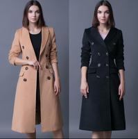 Lungo donne cappotto di cachemire soprabito 2017 sottile doppio petto di lana cappotti della tuta sportiva delle donne di modo khaki nero più il formato S-4XL