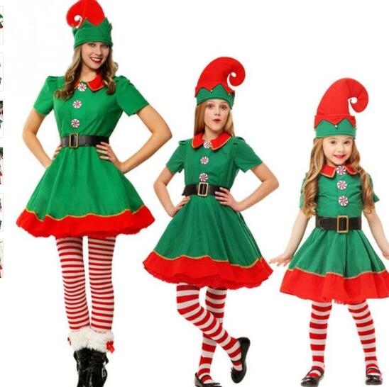 XXXXL XXXXXL Plus Sz Adult Ladies Kids Costume Polyester Cute Dress Parent-Child Clothing Cosplay Little Elf For Christmas Shows