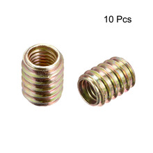 Uxcell 10pcs/lot M10 Internal Thread 20mm 25mm Length Furniture Threaded Insert Nut Fasteners Carbon Steel Zinc Plated