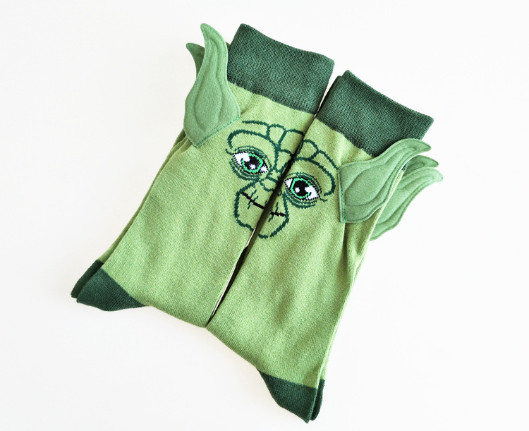 Personality Hand-stitched Ears Cartoon Yoda Master Pattern Men's Crew Socks Novelty Funny Party Socks
