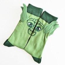 Personality Hand-stitched Ears Cartoon Yoda Master Pattern Men's Crew Socks Nove