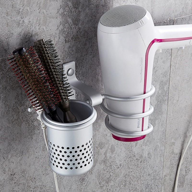 Hair Dryer Holder With Cup Households Rack Hair Blow Dryer Shelf Metal Wall Mount Bathroom Accessories Gold Hair Dryer Rack