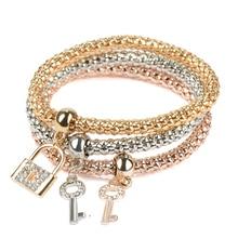 3PCS Set Crystal Bracelets & Bangles 2017 Gold Wrap Charm Bracelets Femme for Women Men Fashion Jewelry Multilayer Bijoux
