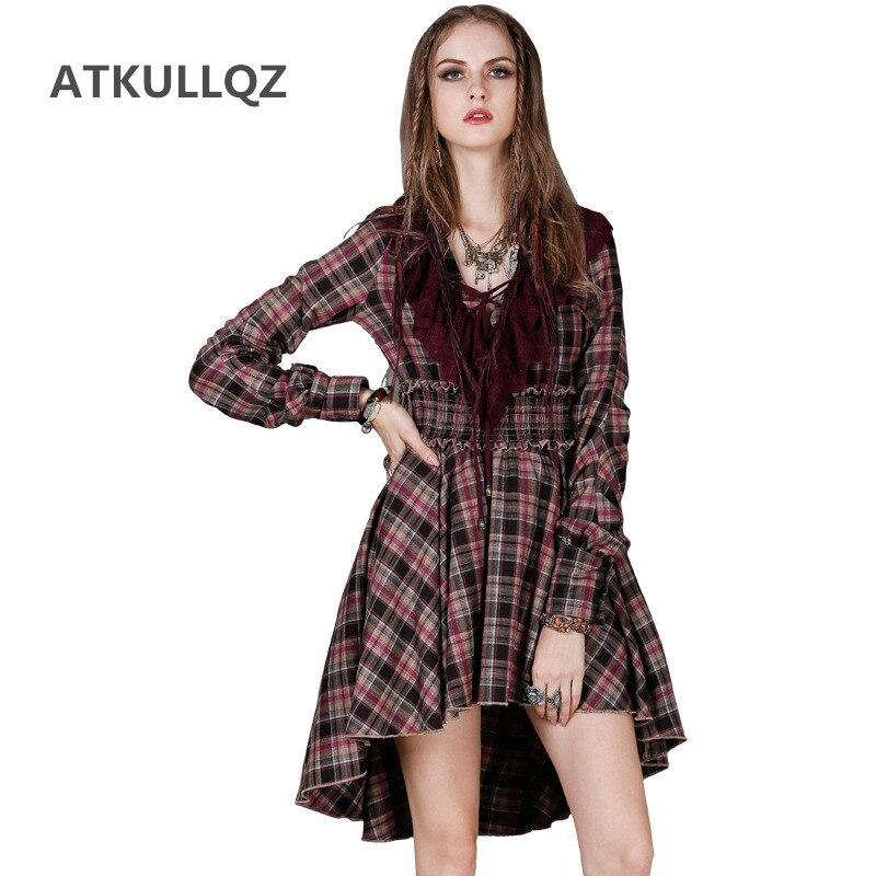 ATKULLQZ marque femmes tenue décontractée 2019 printemps ébouriffé balançoire robe Vintage plaid couture irrégulière élégant de haute qualité robe