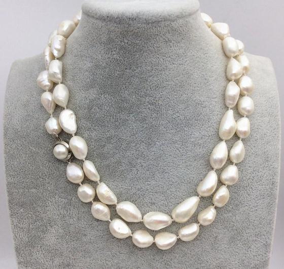 Nouveau Arriver grand collier de perles d'eau douce de couleur blanche Baroque 35 pouces de Long bijoux de perles, mariage, cadeau de fête des mères