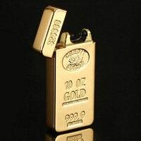 Electric Arc USB Rechargeable Flameless Windproof Cigar Cigarette Lighter Bullion
