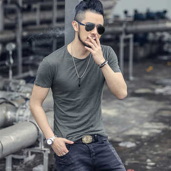 Summer new Bamboo cotton men top tees Breathable Men Underclothes Solid color O Neck slim fit Short Sleeve T shirt brand T4172 - DISCOUNT ITEM  35 OFF Men\'s Clothing