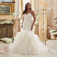 Скромный стильные свадебные платья 2019 Турция Sweatheart на шнуровке Sequin A Line свадебное платье de Novia