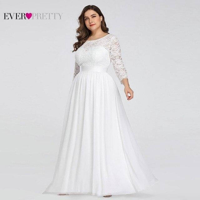 فساتين زفاف دانتيل مقاس كبير طويلة من أي وقت مضى جميلة رقبة دائرية كم طويل a خط أنيقة للنساء فساتين زفاف Vestido De Noiva 2020