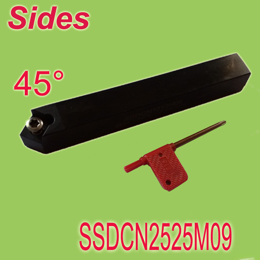 ФОТО Free Shiping  SSDCN 25*25*150mm SHK 1'' 45  Degree External Screw Down Locked  Lathe Tool Holder For Lathe Machine