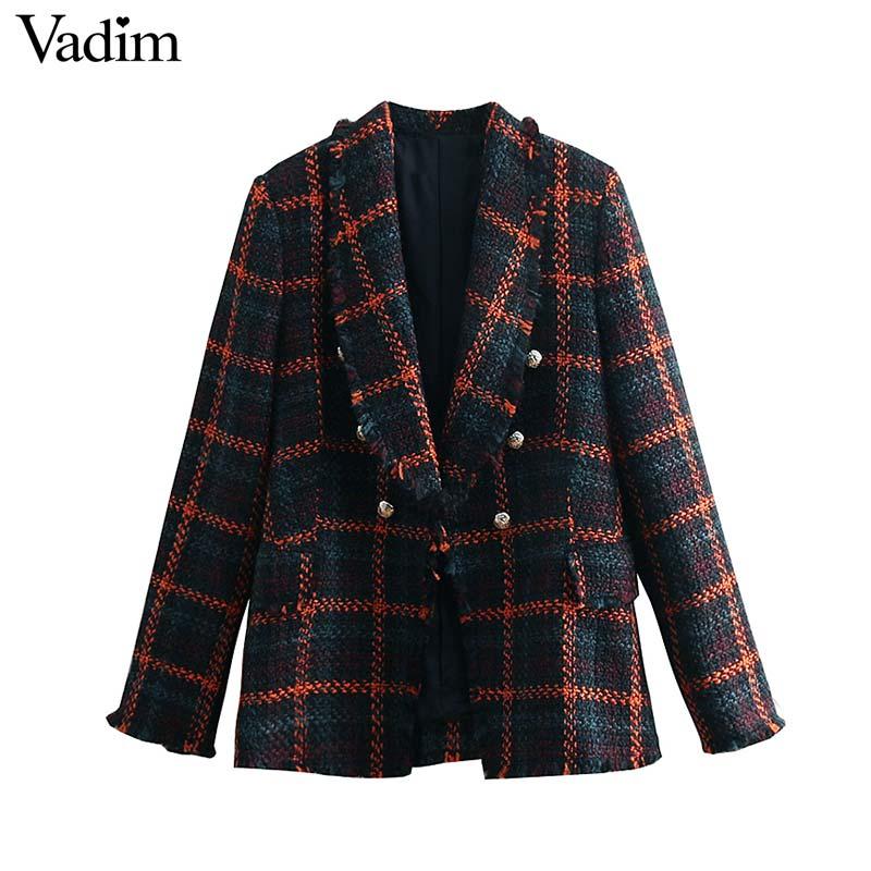 Vorsichtig Vadim Frauen Vintage Plaid Tweed Blazer Fringe Quaste Langarm Mantel Tasten Dekoration Weibliche Chic Oberbekleidung Tops Ca412 Anzüge & Sets