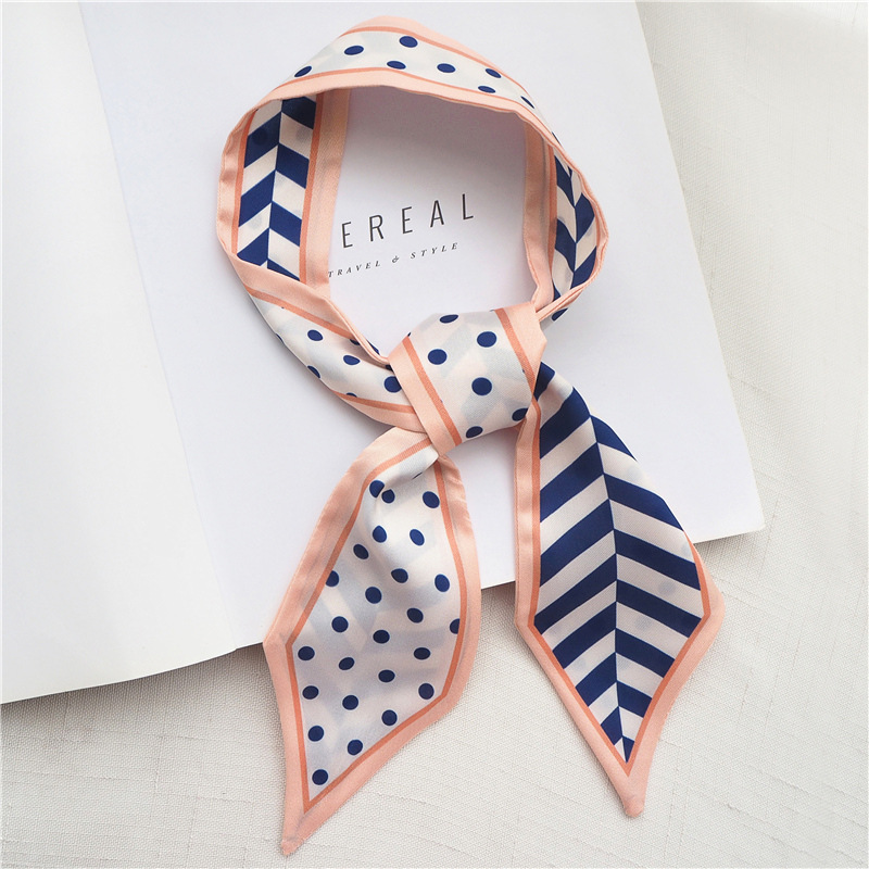 2019 Explosion Models Dot Narrow Scarf Diagonal Strip Small Scarf Twill Tied Bag Scarf Thin Narrow Hair Band Female Scarves