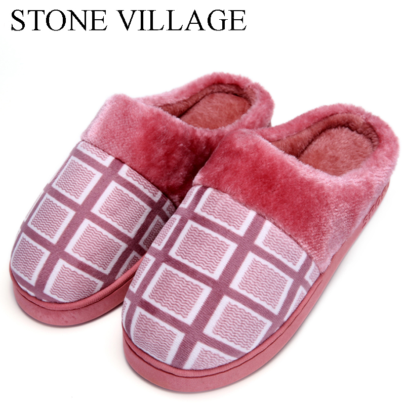 New Arrival Autumn Winter Plaid Print Cotton Slippers Men Plush Warm Home Slippers Fur Slippers Soft Indoor Shoes Women Slippers fghgf shoes men s slippers mak