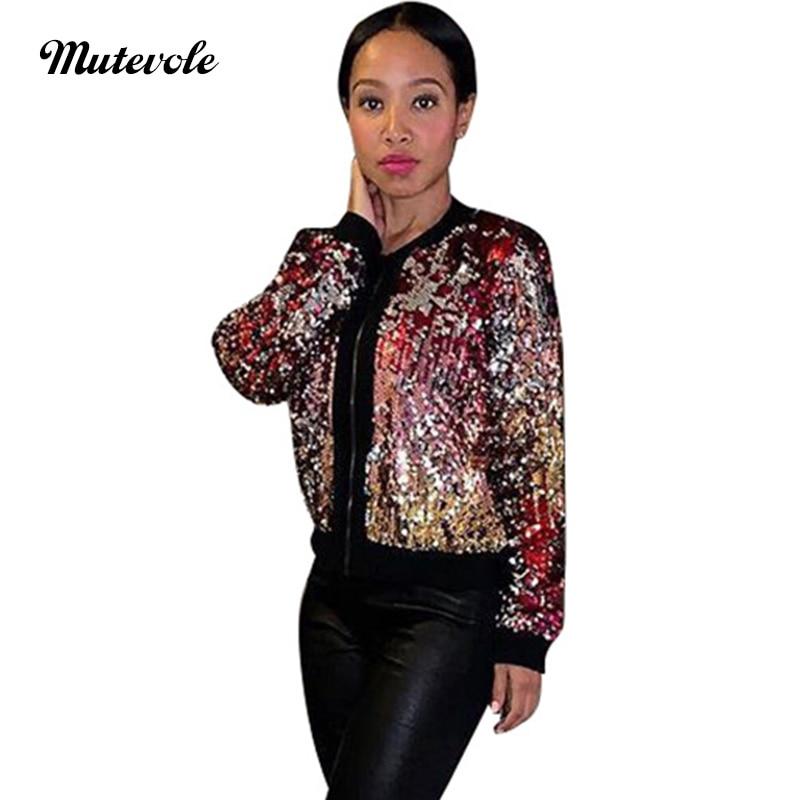 Mutevole Women Sexy Party Glitter Sequin Coat Clubwear Long Sleeve Casual Basic Baseball Coat Zipper Sexy Bling Pailletten Jacke