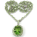 20x15mm Green Tsavorite Garnet Created SheCrown Woman's   Silver Necklace 18.5 inch 40x23mm