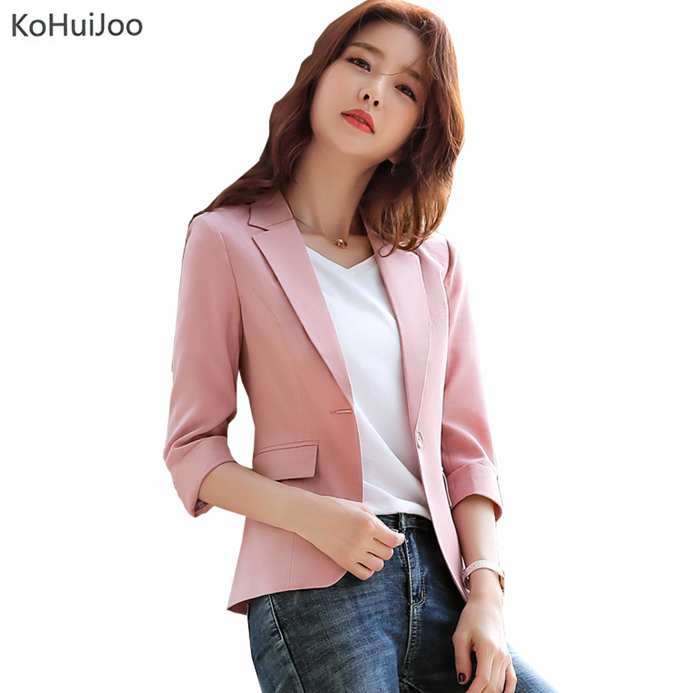 KoHuiJoo Summer Cotton Linen Blazer Women Three Quarter Sleeve Casual Slim Fit Work Blazer Coat And Jacket For Ladies Big Size