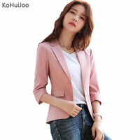KoHuiJoo Summer Cotton Linen Blazer Women Three Quarter Sleeve Casual Slim Fit Work Blazer Coat and Jacket for Ladies Big Size