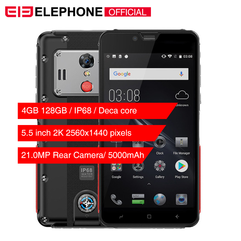 Elephone Soldier IP68 Waterproof Mobile Phone Android 8.0 4GB 128GB 5.5'' 2K Helio X25 Deca Core 5000mAh 21MP Rugged Smartphone